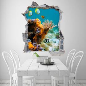 3D poissons et coraux vinyl mer