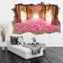 Route de fleurs 3D de vinyle