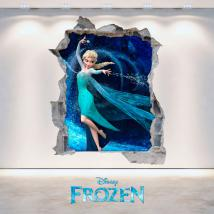 Mur vinyl 3D Disney Frozen trou French 4696
