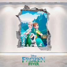 Mur 3D de vinyle Disney Anna et Elsa Frozen trou