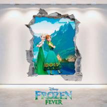 Vinyl 3D Disney Frozen Elsa et Anna mur trou
