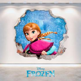 Mur 3D trou Disney Frozen Anna de vinyle