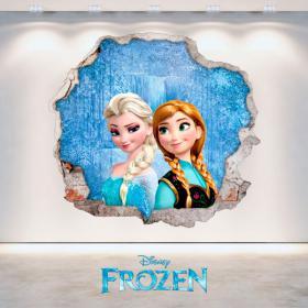 Vinyle Disney Frozen Anna et Elsa hole mur 3D