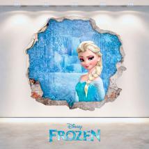 Trou de Disney Frozen Elsa vinyle mural 3D