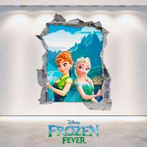 Mur 3D trou vinyle Disney Frozen Elsa et Anna