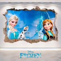 Disney vinyle congelés Elsa & Anna trou mur 3D French 4712
