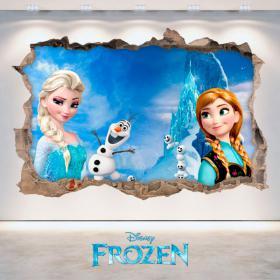 Disney vinyle congelés Elsa & Anna trou mur 3D