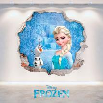 Disney vinyle Elsa congelés et Olaf 3D trou mur