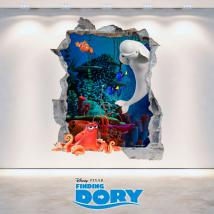 Vinyl 3D Disney Dory trou mur