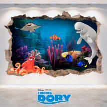 Mur 3D trou Disney trouver Dory de vinyle