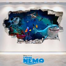 Mur de trou de vinyle 3D Disney Finding Nemo French 4732