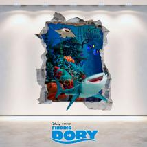 Vinyl 3D Disney cherche à mur trou Dory