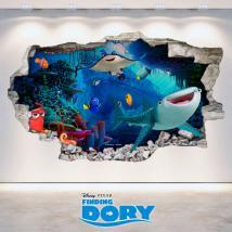 Vinyle Disney cherche à mur trou 3D Dory