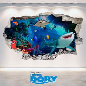 Vinyle de Disney vous cherchez mur trou 3D Dory