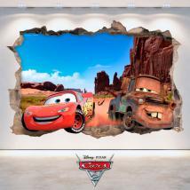 Mur de trou de vinyle 3D Disney Cars