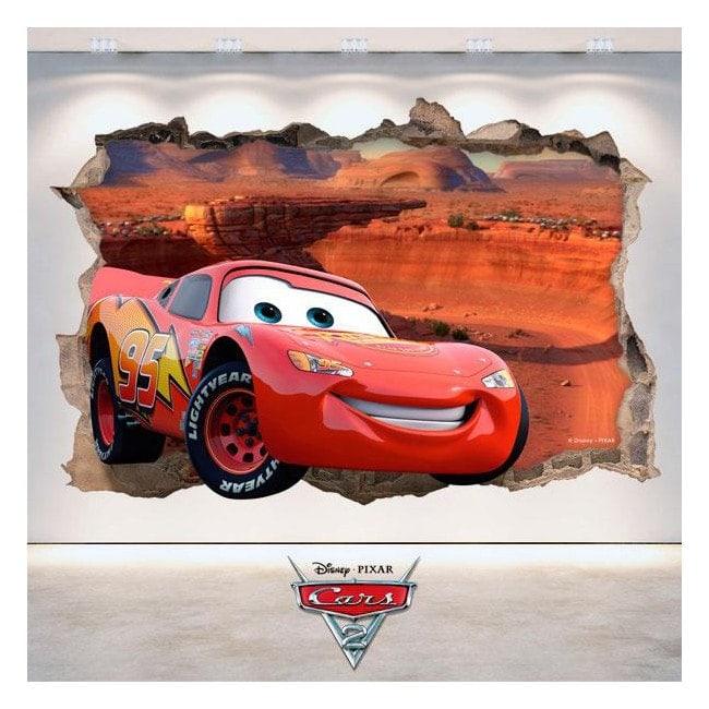Autocollant 3D Disney Cars 2 trou mur