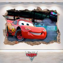 Trou de Disney Cars 2 autocollant mural 3D