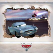 Trou de vinyle de mur 3D Disney Cars 2