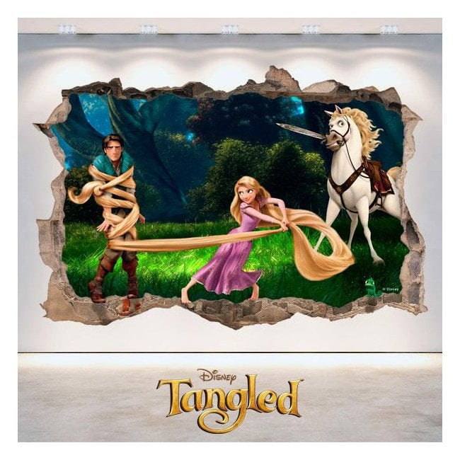 Tangled Disney vinyle trou 3D wall