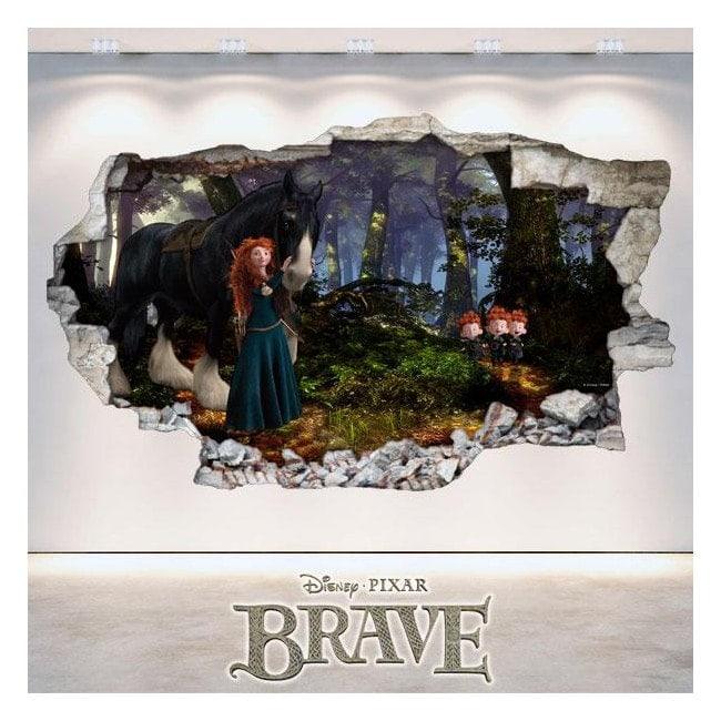 Mur de trou de vinyle 3D Disney Brave