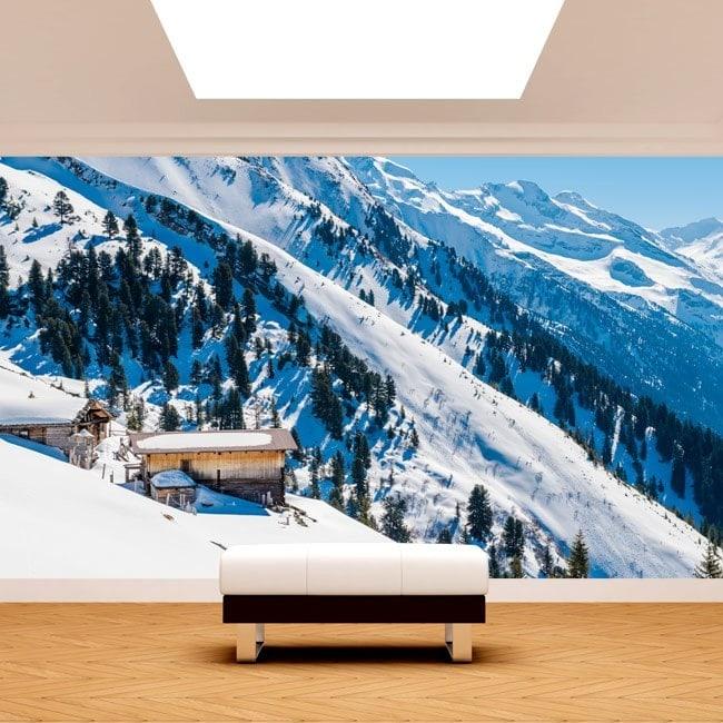 Bulletins d'enneigement photo montagnes de peintures murales de mur