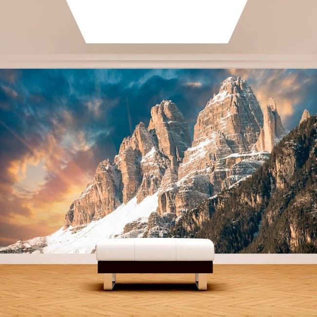 Peintures murales photo neige dans les montagnes