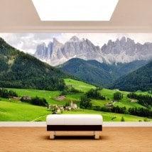 Photo montagnes de peintures murales mur Funes Italie