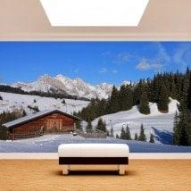 Photo montagnes de peintures murales mur Siusi Alpes Italie