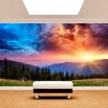 Fotomural montagnes du coucher du soleil