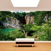 Photo mur murales cascades dans les montagnes