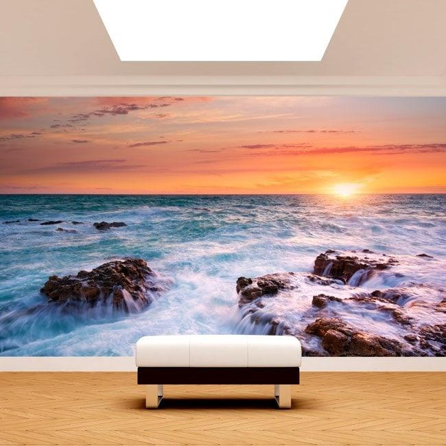 Photo mur murales coucher de soleil sur la mer French 4887