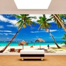 Fotomural palmiers sur la plage