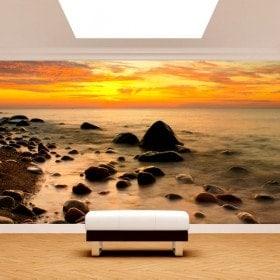 Fotomural coucher de soleil dans la mer Baltique