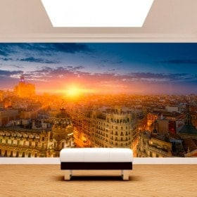 Photo mur murales Madrid Gran Via coucher de soleil