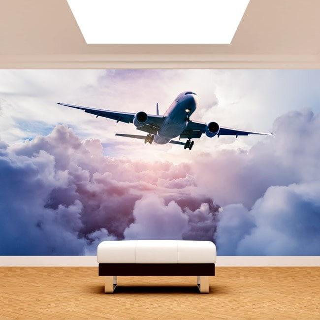 Avion de Fotomural entre les nuages