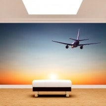 Peintures murales Photo avion coucher de soleil