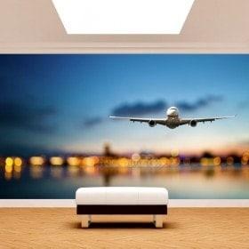 Avion de peintures murales pour le mur photo