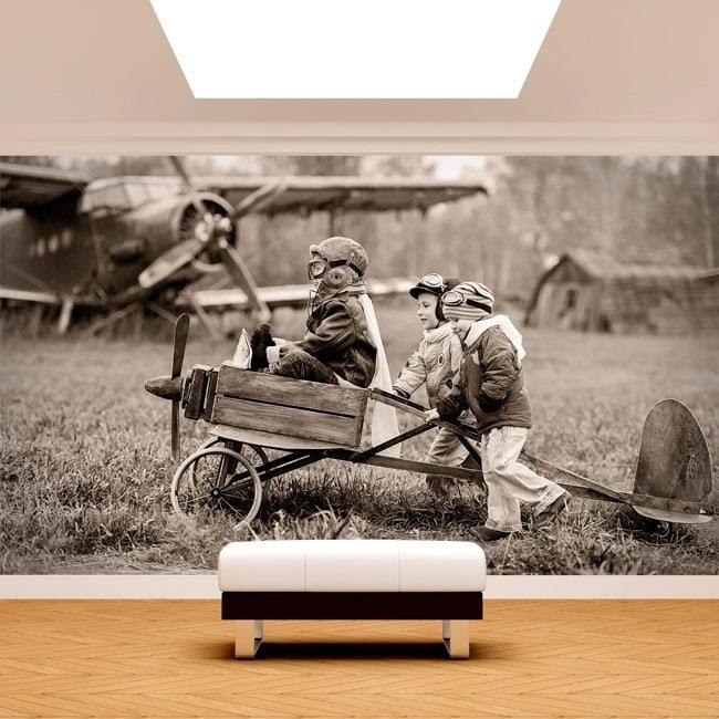 Avion et Fotomural enfants
