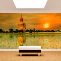 Photo mur murales grand Bouddha Thaïlande