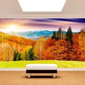 Photo montagnes coucher de soleil de peintures murales de mur