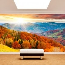 Photo mur murales coucher de soleil dans les montagnes
