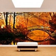 Peintures murales photo pont sur le lac