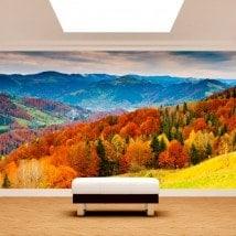 Peintures murales photo arbre automne montagnes