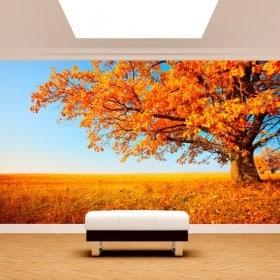 Arbre de peintures murales de mur photo automne