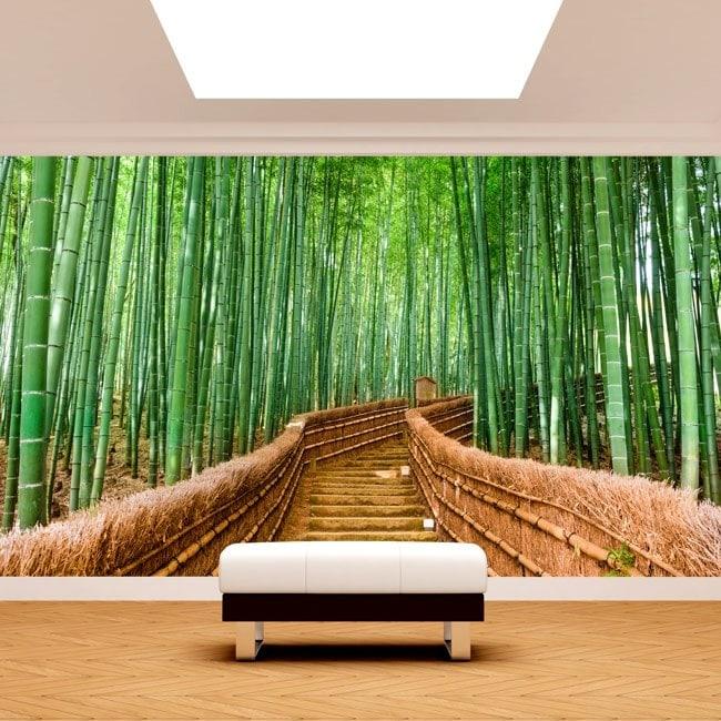 Escaliers de bambou photo mur murales