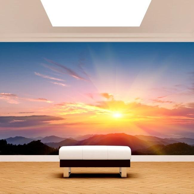 Photo mur murales coucher de soleil en montagne