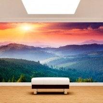 Peintures murales photo mur montagnes coucher de soleil