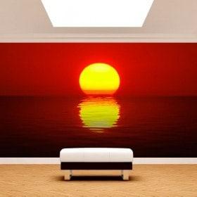 Photo mur murales soleil coucher de soleil mer
