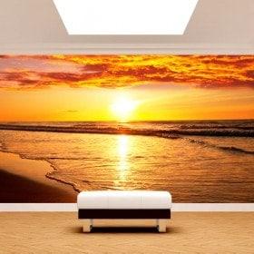Fotomural coucher de soleil sur la plage