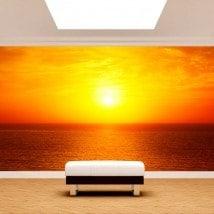 Peintures murales photo coucher de soleil sur la mer